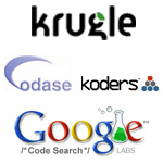 Koders, Krugle, Codase, Google Code Search
