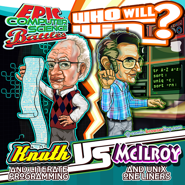 Epic computer science battle between Donald Knuth vs Douglas McIlroy. Who will win?