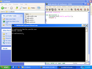 video downloader programming environment screenshot - vim, gcc, hello world