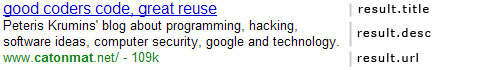Google Search Result, url, title, description