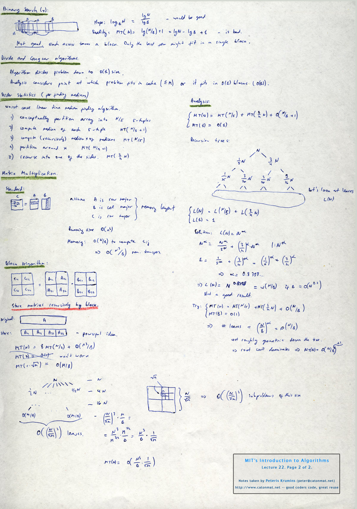 MIT's Introduction to Algorithms, Lectures 22 and 23: Cache