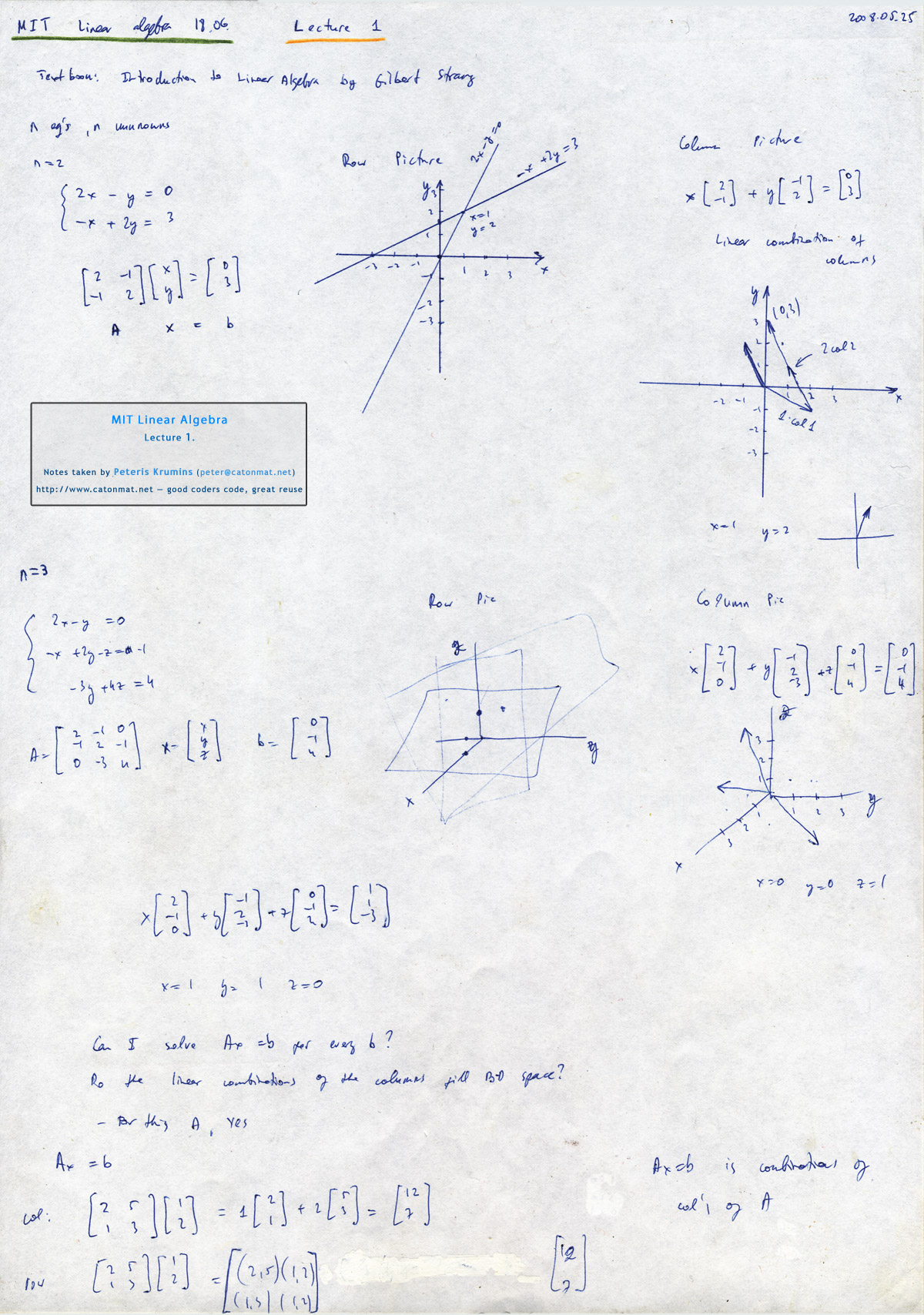 MIT Linear Algebra, Lecture 1: The Geometry of Linear Equations