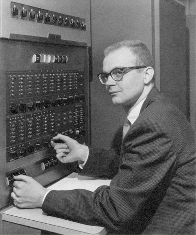 Young Donald Knuth from 1958 at an IBM 650 Computer